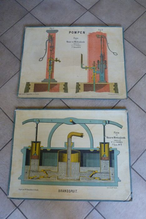Two (2) School posters nature and mechanical engineering: Fire engine and pump