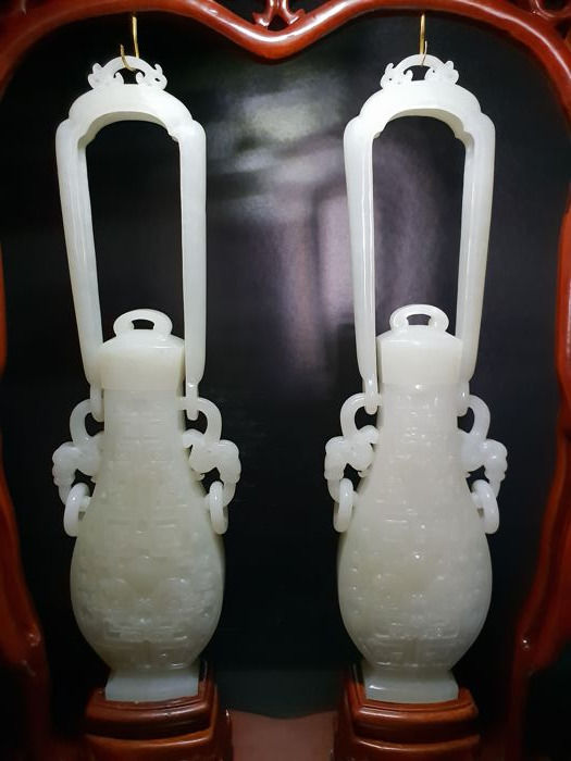 Carved White Jade Vases China Late 20th C Catawiki
