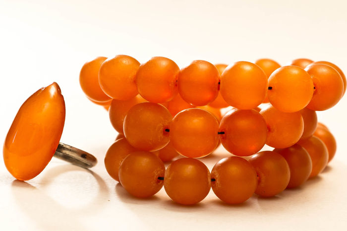 Set of Art Deco Baltic Amber necklace and silver 785 ring, butterscotch egg yolk