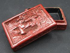 A carved cinnabar lacquer box- China -  late Qing period