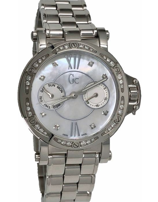 GC Guess Collection - Diamonds Day & Date Watch White Mother of Pearl  - X74106L1S - Dames - New