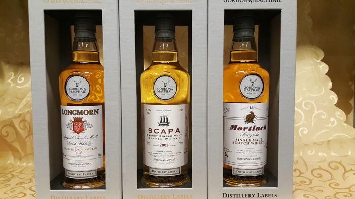 3 bottles - Mortlach 15 years old / Scapa 13 years old / Longmorn 15 years old - The Distillery Labels Series by Gordon & Macphail