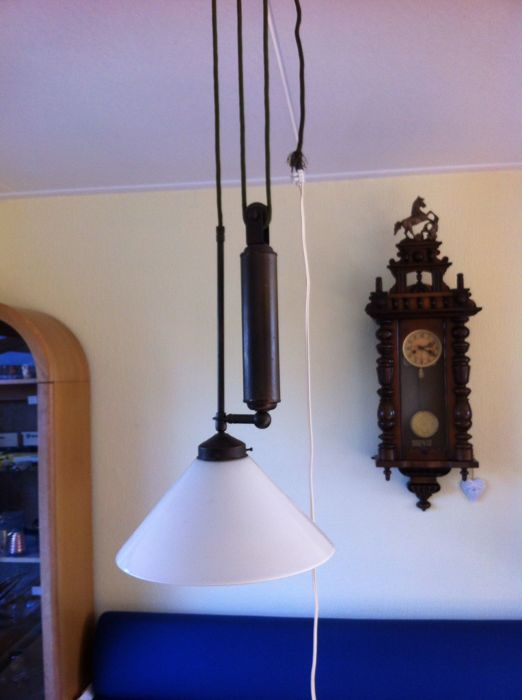 Berliner hanging lamp with pulley and counterweight and white glass lampshade of 35 cm