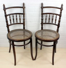 Fishel Wien - Set of Bugholz café chairs with wicker seat - Austria - ca. 1890