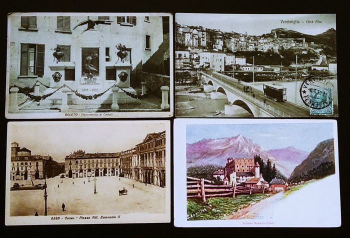 Lot of 139 Italy postcards with small towns and Mogadishu colonies, including animated