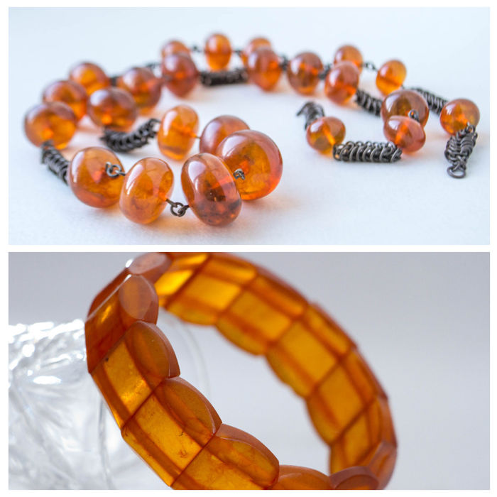 Set of Old Baltic amber beaded necklace with 100% natural amber (not pressed) and  bracelet butterscotch, honey colour