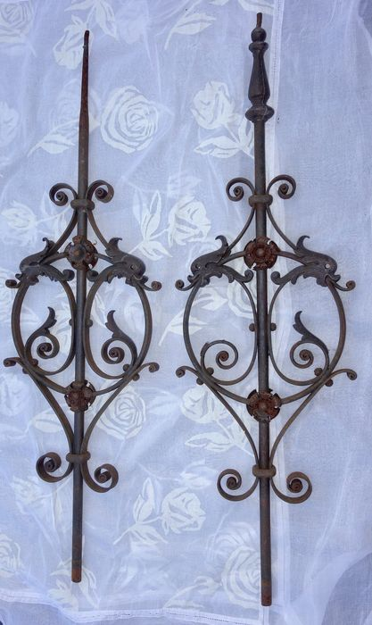2 wrought-iron ornaments probably of an entrance gate - 19th century