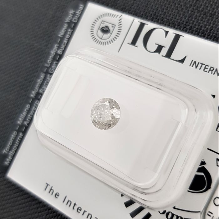 0.74 ct - Natural White Diamond - H Color - I2 - EX/EX/VG - NO RESERVE!