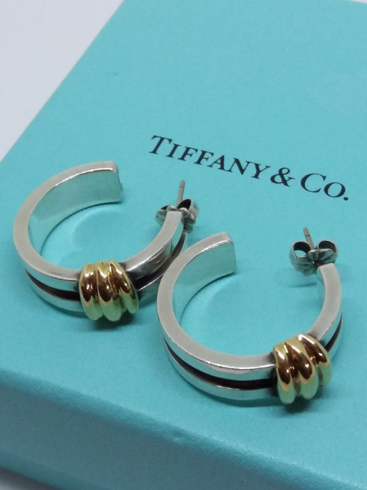 6afbb10b9 Tiffany & Co 18k yellow gold & 925 Solid Silver half hoop earring,  presentation box