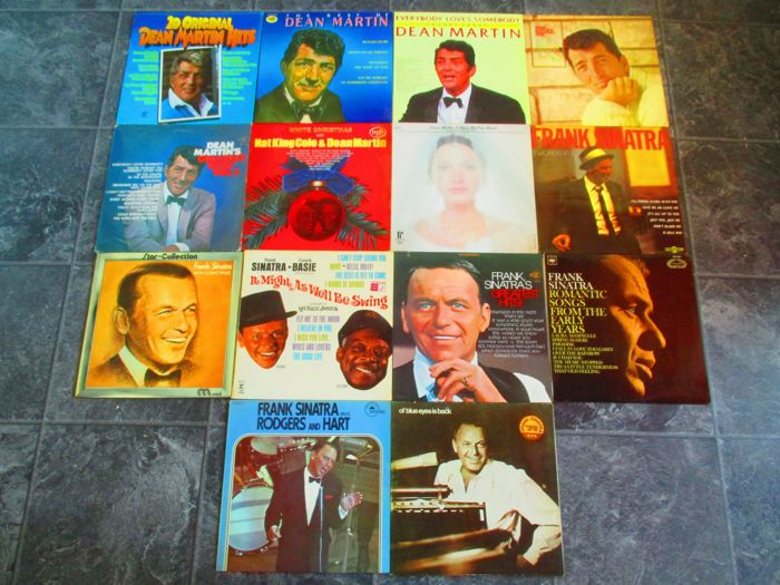 2 Rat Packers ! Nice Lot of 7 Records Of Frank Sinatra And 7 Records Of Dean Martin On Various Labels (see pictures)