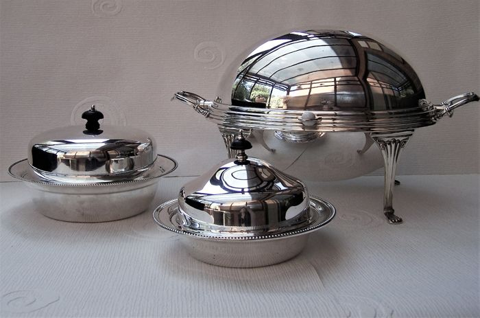 Vintage English Silver Plated Roll Top Server & 2 x Muffin Dishes, Harrods Ltd, Elkington & Co and Marples & Co