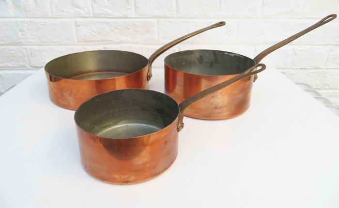 3 Vintage copper and brass cooking pan and skillet