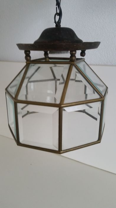 Old octagonal Copper Lamp with Facet cut glass