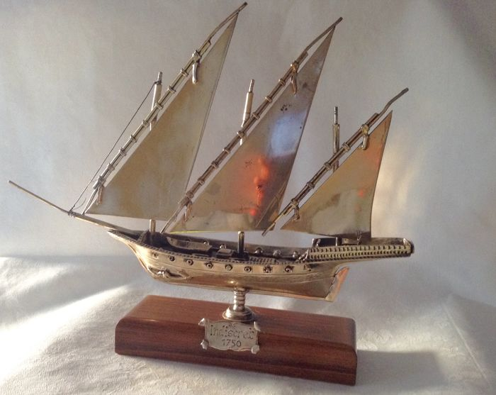 Silver sailing ship with wooden base, Arezzo Italy 20th century