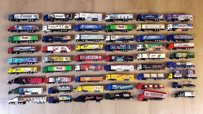 Collection of 54 pieces of advertising trucks of various areas 1/87 from approx. 1999 to 2010