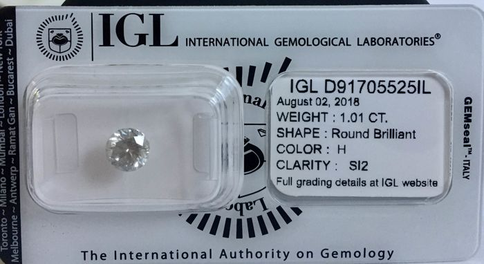 Certified 1.01ct Round brilliant loose diamond. H/SI2