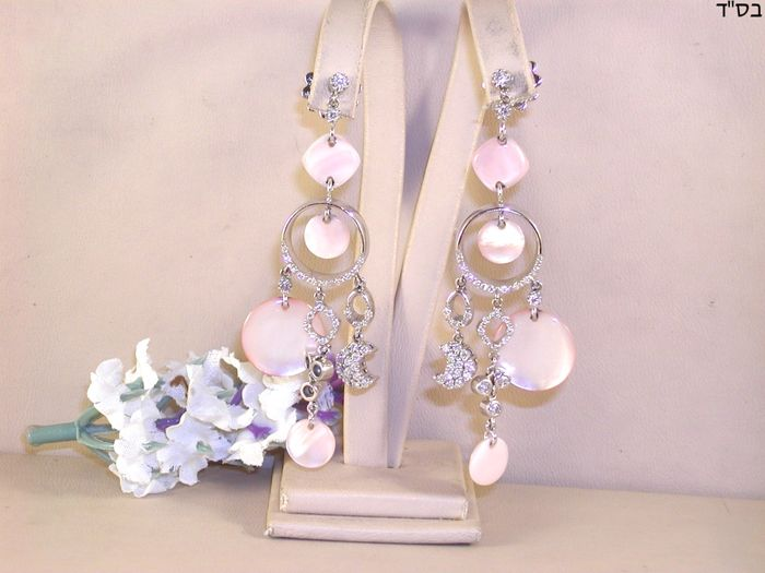 18 quilates Oro blanco - Pendientes - 4.50 ct Diamante - Madre perla