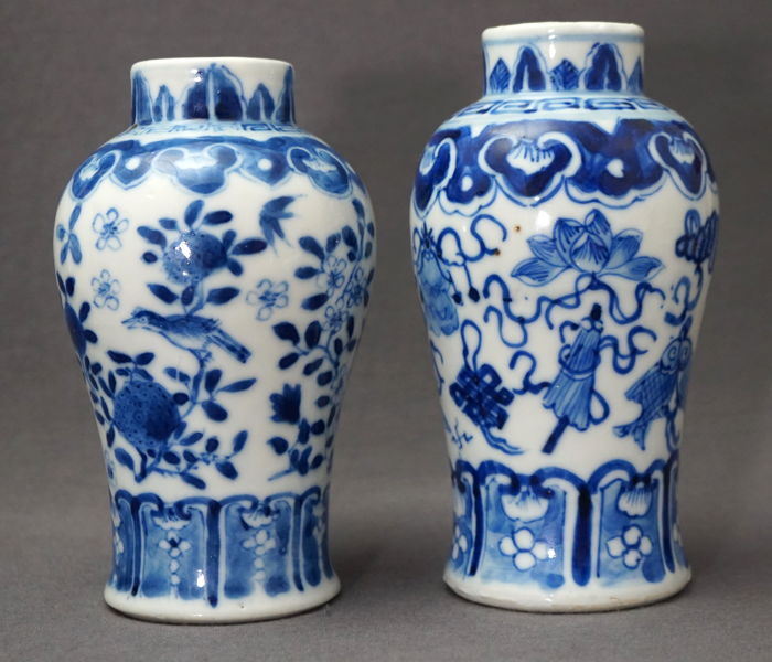 2 Baluster vases with décor of valuables and birds, Kangxi marked - China - 19th century
