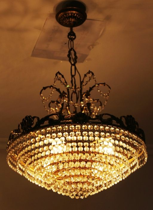 Ceiling lamp Ø45 made of cut crystal, brass and bronze Vintage, 1970s