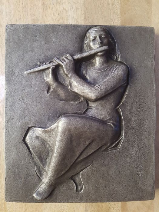 Art cast / iron casting 'The flute-player', Heinrich Moshage 1896-1968, edition of Buderus