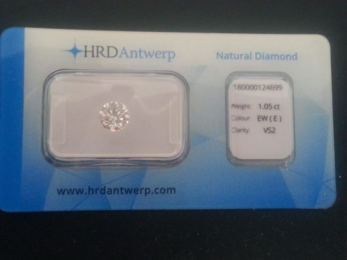 1.05 ct brilliant cut diamond, E VS2, HRD, excellent colour and clarity