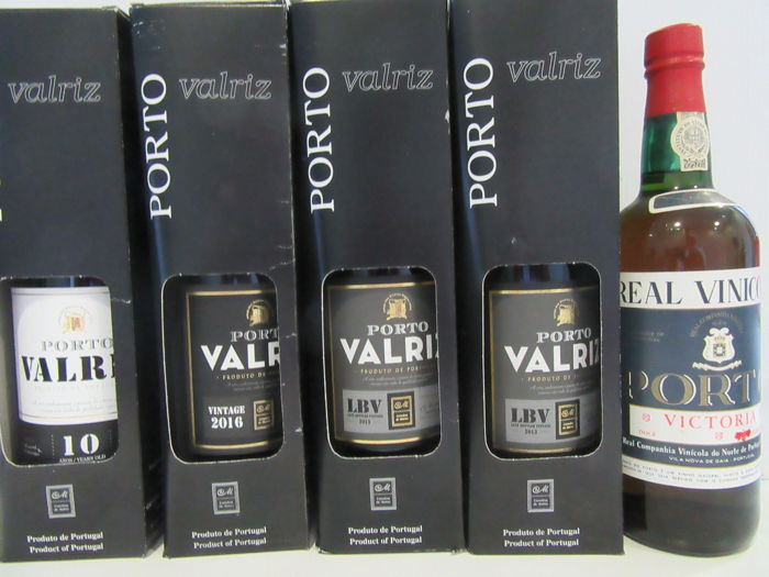 "2016 Vintage Port - Valriz & 10 Years Old Tawny Port - Valriz & 2x 2013 LBV Port Valriz & NV Old Port Wine - Real Vinicola ""Victoria""  - 5 bottles in total x 75cl"