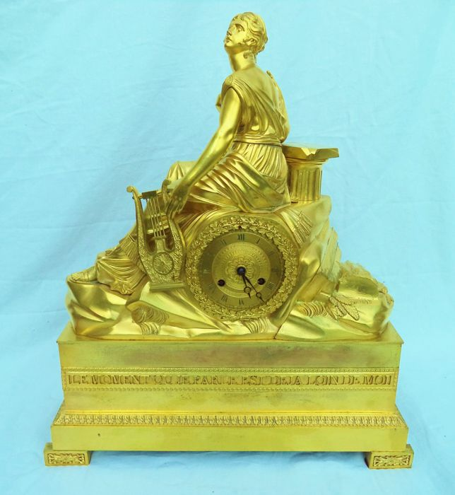Large heavy bronze fire-gilded empire mantel clock - France, ca. 1840