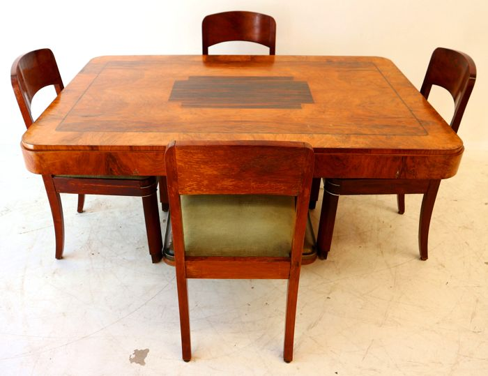 Art Deco coromandel with Cuba mahogany dining area with brass and aluminium finish