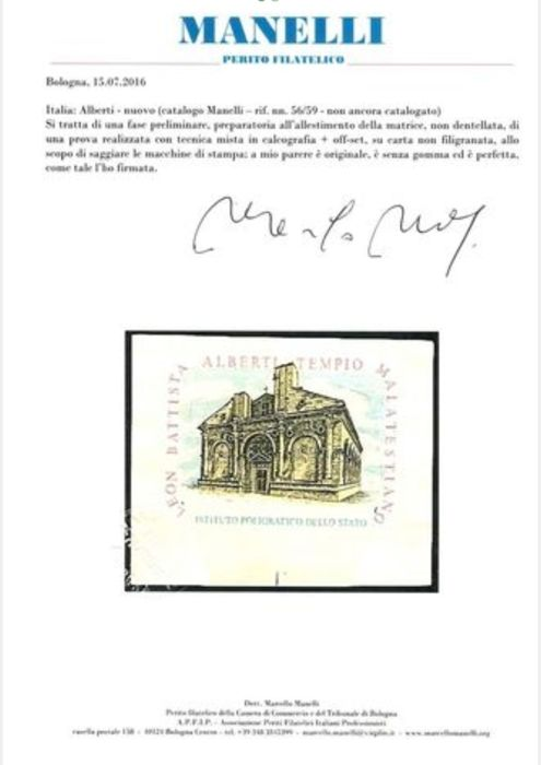 Republic of Italy 1990 - Philatelic proof of León Battista, Malatesta Temple