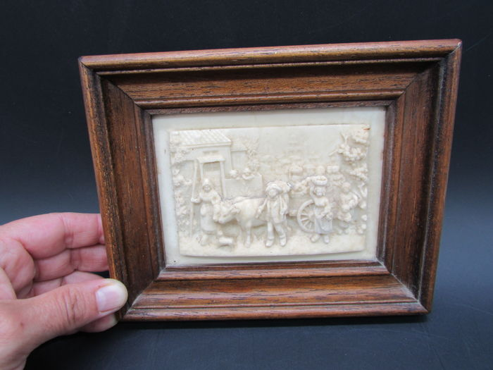 sculpture bas relief in framed limestone, rural scene, farm, cows 19th century