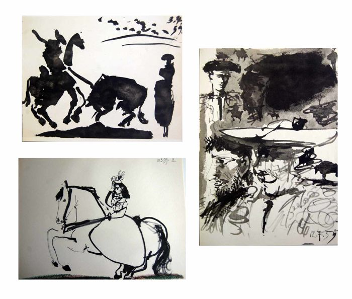 Pablo Picasso (after)  - 3 x Toros y toreros