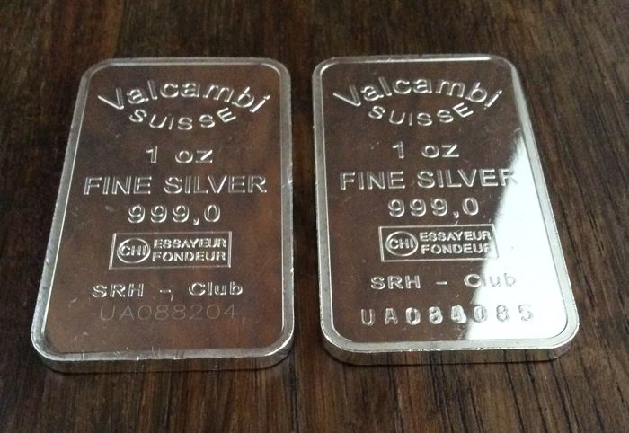 Valcambi Suisse - 2 x 1 oz - 999/1000 - Minted - With serial numbers