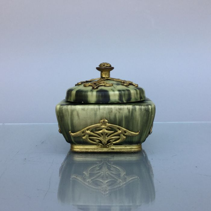 Art Nouveau ceramic box with cover by Eugene Baudin