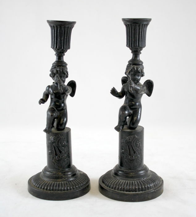 Pair of 19th century antique spelter candlesticks with cherubs, Made in 19th Century