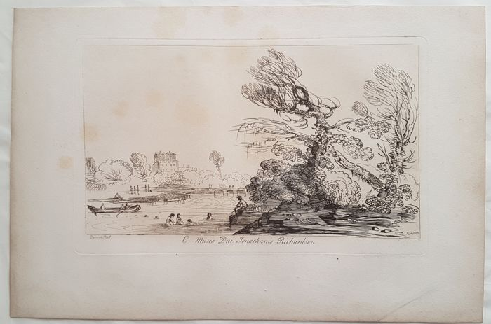 George Knapton (1698–1778) - River Landscape with Boat and swimmers
