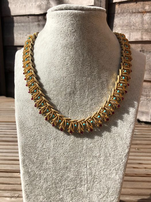 Coro Francois gold plated necklace gem and turquoise set