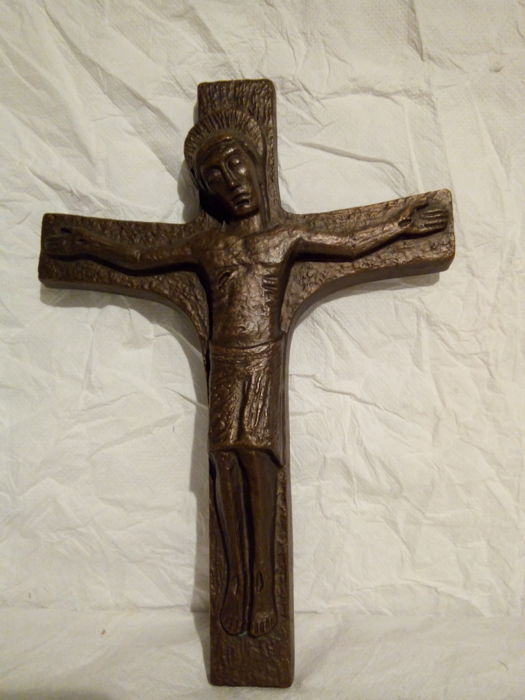 Old cross in solid bronze, height 26 cm, France, 20th century