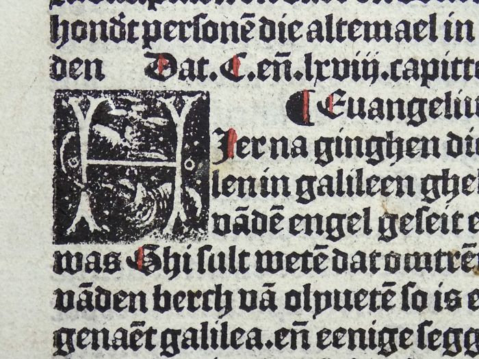 2 Incunabula leaves in Dutch from Vitae Christie - With fine medieval woodcut initial  - 1488