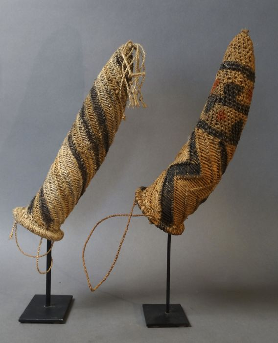 Set of two Phallocrypts (penis gourds) - UPPER SEPIK - Papua New Guinea