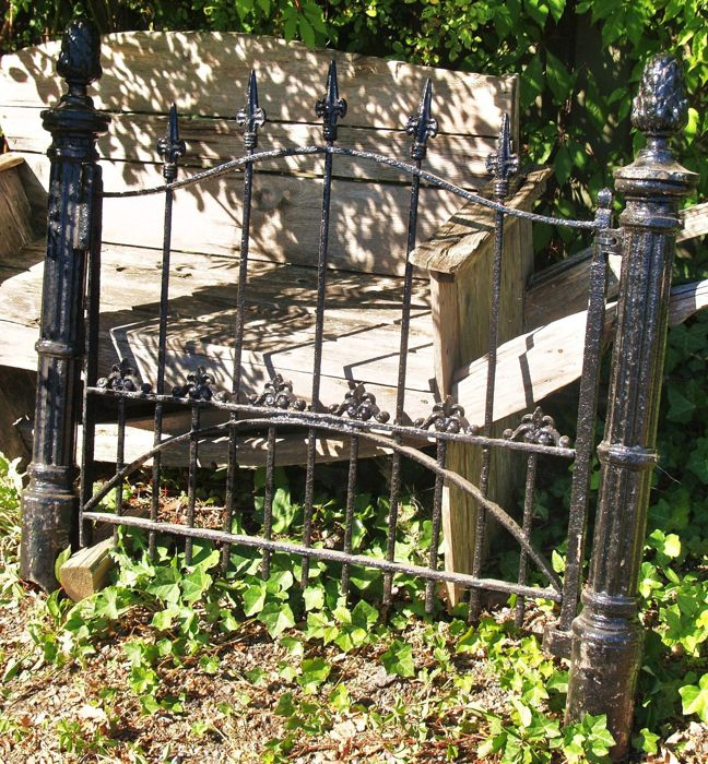 Wrought Iron Garden Fence   Rotatable, Complete With Its Original Posts    20th Century