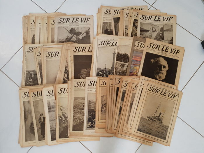 Lot of 173 military magazines  WW1 'Sur le Vif' - from 1914 to 1918