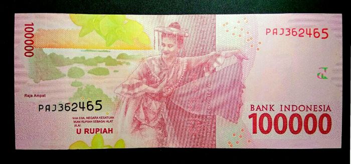 Indonesië - 100.000 Rupiah 2016 - Pick new - Error - MissPrinted