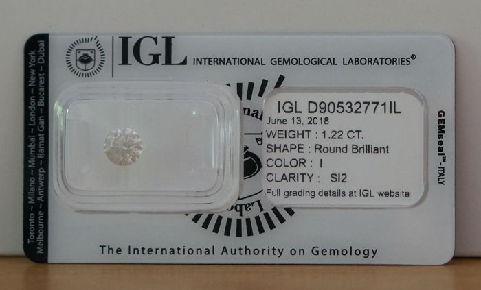 IGL 1.22ct I SI2 Natural Diamond  - Round Brilliant 3x EX  ****No Reserve Price***