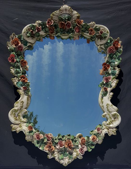 Antonibon-style production - Antique polychrome ceramic wall mirror