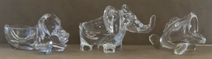 "Three ""Art Vannes"" crystal pieces, depicting animals - France - 1970s-80s"