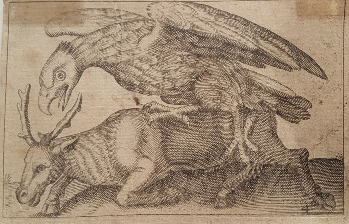 Antonio Tempesta (1555 – 5 August 1630)  - Eagle attacking an Deer