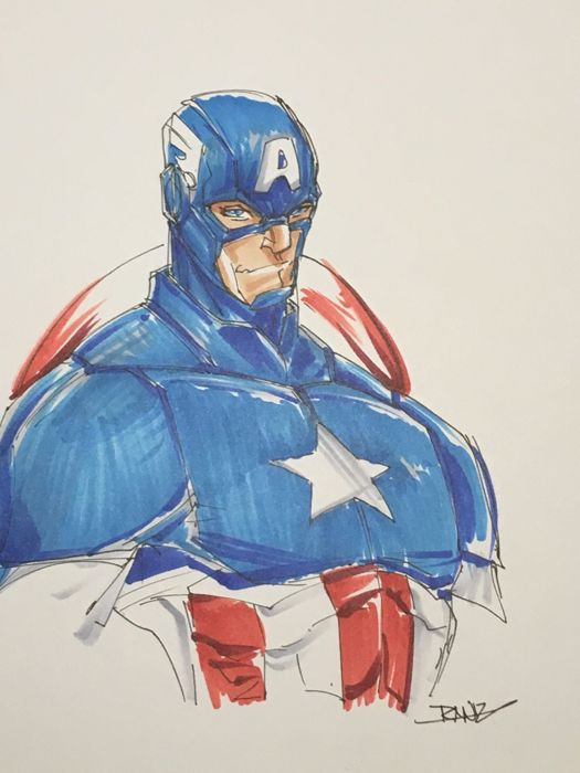 Captain America - Original Drawing - Randy Kintz - First edition