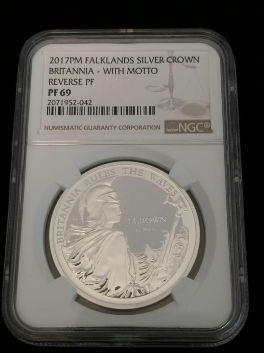 "Falklandeilanden - 1 Crown 2017 Brittania ""Rules The Waves ""NGC 69 - 1 Oz - Zilver"