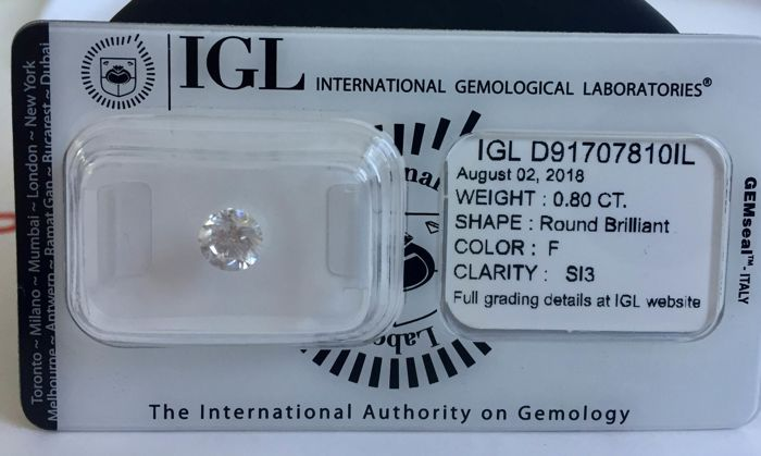 Sealed & Certified 0.80ct Round brilliant loose diamond. F/SI3