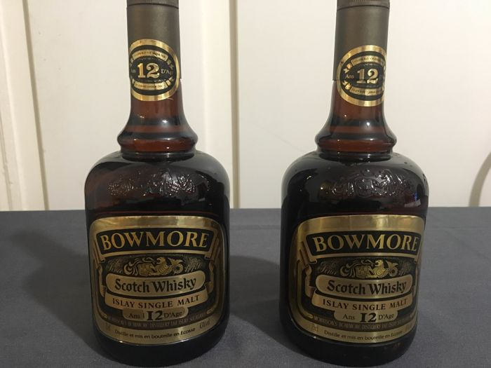 2 bottles - Bowmore 12 years old bottled 1980s OB
